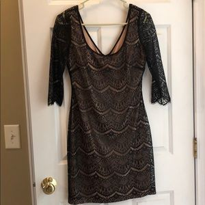 Guess Black and Tan 3/4 sleeve length lace dress